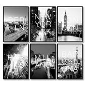 Черно-белые постеры с городами: Париж, Барселона, Милан, Берлин, Лондон, Нью-Йорк.