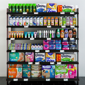 Shelving with hygiene products