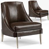Keene Modern Classic Espresso Brown Leather Bronze Arm Сhair