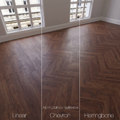 Parquet natural, walnut Bolivian, 3 types. Linear, chevron, herringbone.