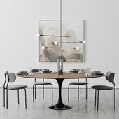 "Oval Tulip Dining Table 78 ""walnut set"