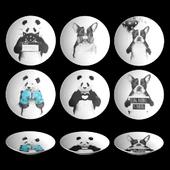 Набор декоративных тарелок c работами художника-иллюстратора Balazs Solti.