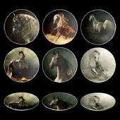 Набор декоративных тарелок - арабские лошади от фотографа Wojtek Kwiatkowski.