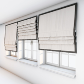 Light beige Roman curtains with a dark brown edge along the edge with a window.