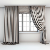 Two-color light curtains in the floor are straight and with a pick-up brush with a dark edging, Roman curtains and a window with layouts.
