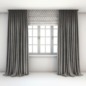 Two-color straight gray curtains in the floor, Roman curtains with a yarrow pattern and a window with layouts.