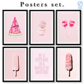 Collection of posters on the theme of sweets.