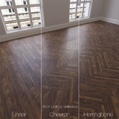 Parquet natural, walnut Coal, 3 types. Linear, chevron, herringbone.