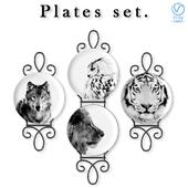 Набор декоративных тарелок с хищниками.