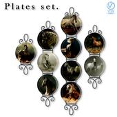 Набор декоративных настенных тарелок - арабские лошади от фотографа Wojtek Kwiatkowski.