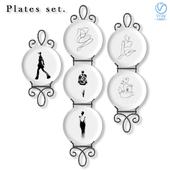 Набор декоративных настенных тарелок о моде.