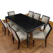"8 Side Chairs ""Dormand"" and Dinning Table ""Groovy"" designed by John Hutton"