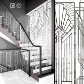 Forged guard of the Art-Deco staircase