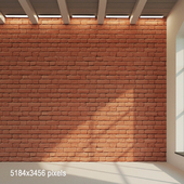 Brick wall. Old brick painted (red). 15
