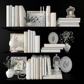 A set of white decor for the design of bookshelves