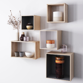 Wooden shelves with decorative objects