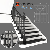 Two-staircase ladder with staggered steps, 2 version