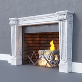Fireplace classic with fire and firewood