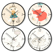 Набор настенных часов для оформления детской комнаты для девочки.
