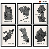A series of posters with maps of cities and regions.