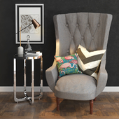 Decorative set with an armchair and a table