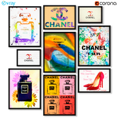 Collection of paintings Coco Chanel.
