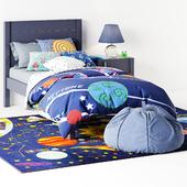 кровать Uptown Navy Blue Bed от Crate & Barrel тумба Kids Uptown Navy Blue Nightstand