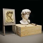 The head of David and the easel of the artist