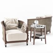 Flexform Mozart chair Cabare table
