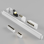 Magnetic spotlights with built-in modular system