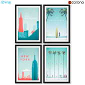 Серия постеров с городами и штатами США.