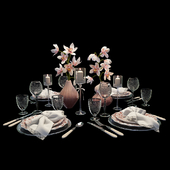 Festive table setting with orchids
