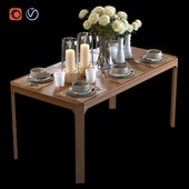 Dining table with filling and bouquet