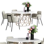 CB2 azalea chair & circuit dining table