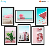 Тропические постеры с пляжами Майами в розовом стиле.