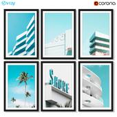 Серия постеров с архитектурой Майами