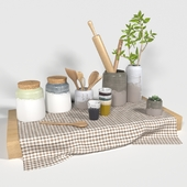 Set of pottery and utensils for the kitchen