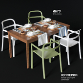 Dining table and chairs IKEA JOPPERLIG and INGU