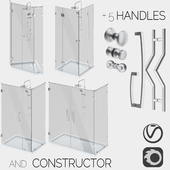 Angled glass shower cabins, designer and handle set