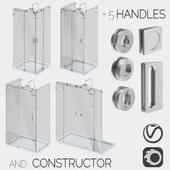 Sliding glass shower cabins, designer and handle set