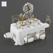 Wedding table for 6 persons 3 Vray