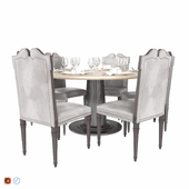 Salda table with central column and chairs