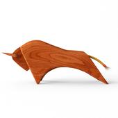 wooden bull sculpture