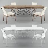 Table Gordon Deep Wood, chair Cattelan Italia Sofia Chair