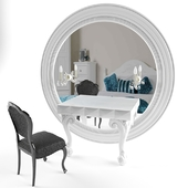 elegant white dressing table with black chair