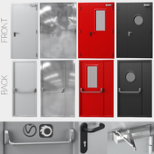 Металлические противопожарные двери, 4 цвета