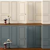 Wall molding. Boiserie classic panels with door
