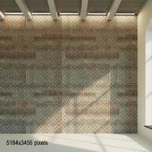 Corrugated steel sheet. Rusty.