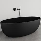 Lusso Stone VETRINA Black Bathtub + LUXE Bath Tap