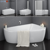 Set of asymmetric baths Ravak set 14 (LoveStory II, Chrome, Rosa 95, BeHappy)